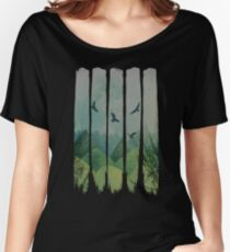 Eagles, Mountains, Grunge Landscape Women's Relaxed Fit T-Shirt