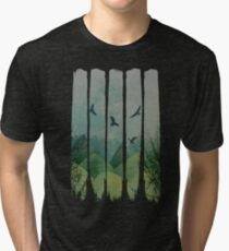 Eagles, Mountains, Grunge Landscape Tri-blend T-Shirt