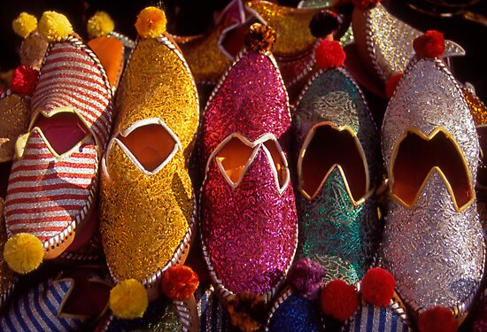 Turkish slippers for sale in Bodrum. Turkey. by Steve Outram