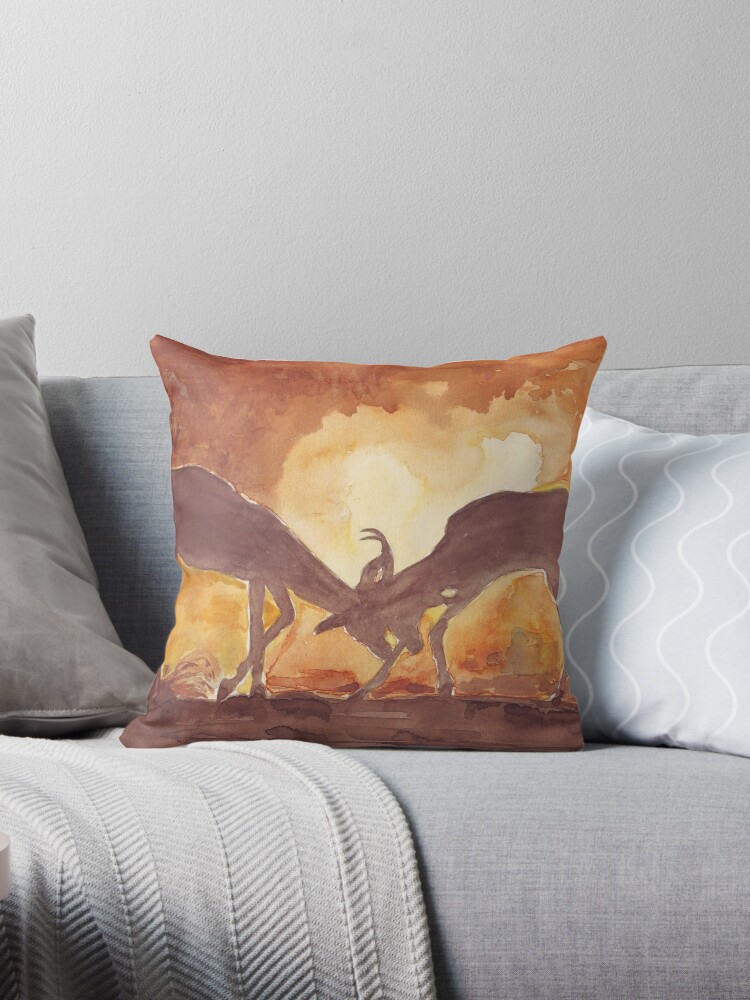 Lodge décor — Territorial Dance in the African sunset Mix & Match Throw Pillow by Maree Clarkson
