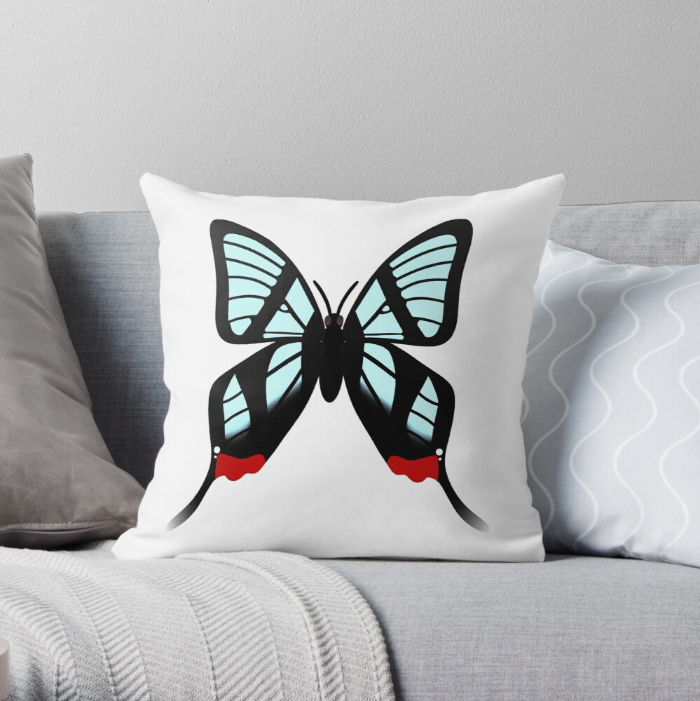 Glasswing Swallowtail Butterfly Throw Pillow