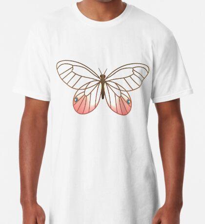 Pink Glasswing Butterfly Long T-Shirt