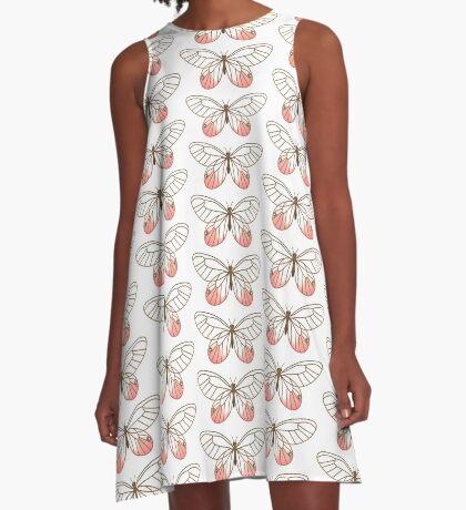 Pink Glasswing Butterfly A-Line Dress