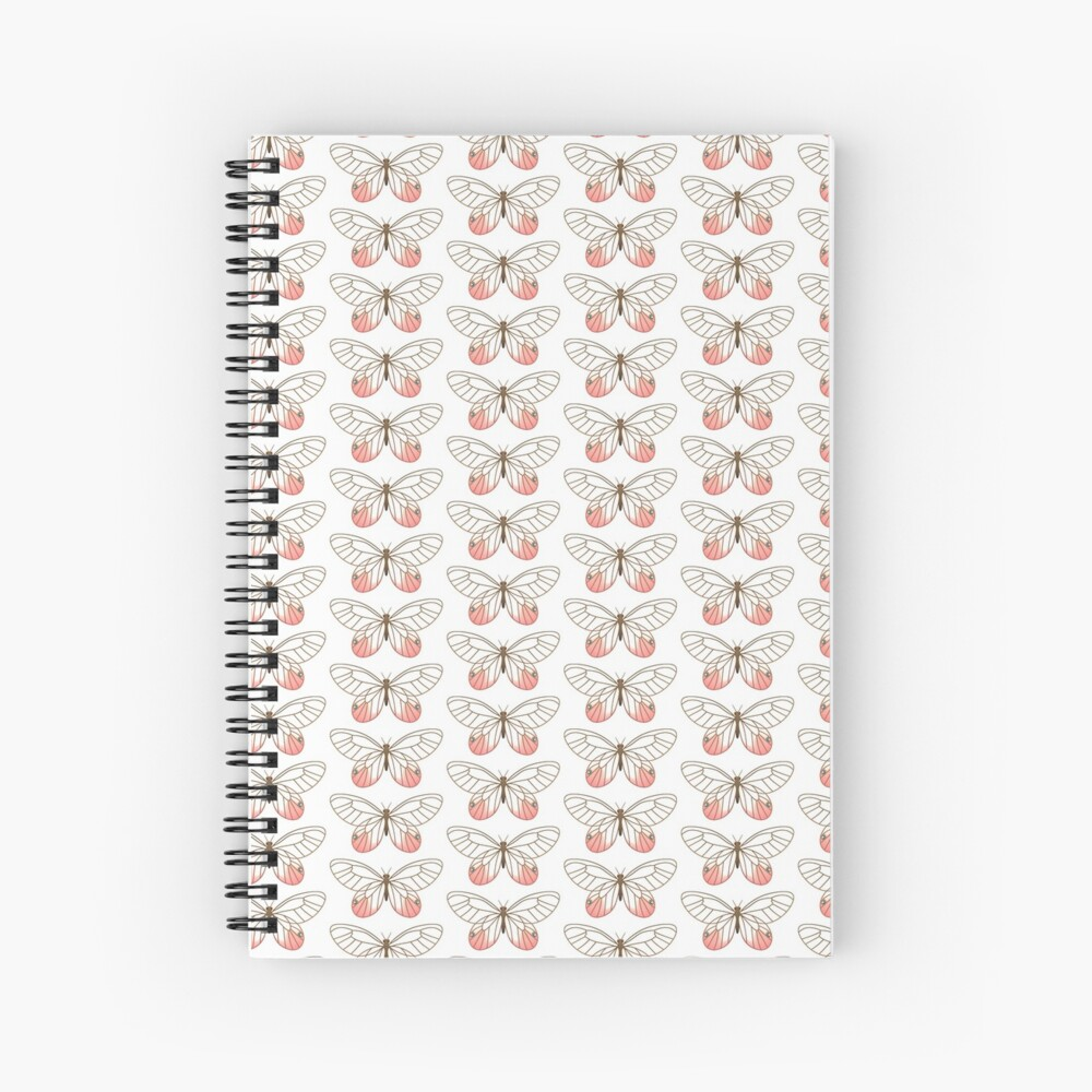 Pink Glasswing Butterfly Spiral Notebook