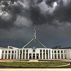 1432 Storm over Parliament House - Canberra by Hans Kawitzki