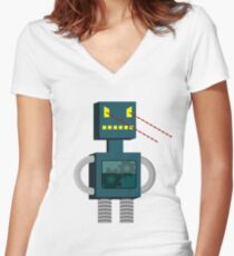 Angry Robot Laser Fun T-Shirt Women's Fitted V-Neck T-Shirt