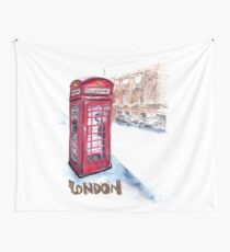 Telephone booth - London, UK Wall Tapestry