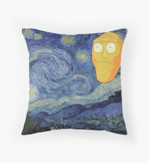 Starry Night Rick and morty Throw Pillow