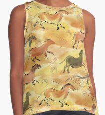 Paleolithic Cave Horses in Sienna Brown Yellow and Black Contrast Tank