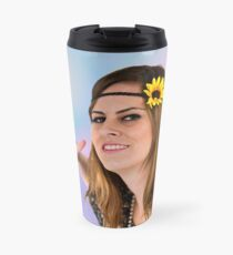 Teen Hippie flower child on psychedelic background  Thermosbecher