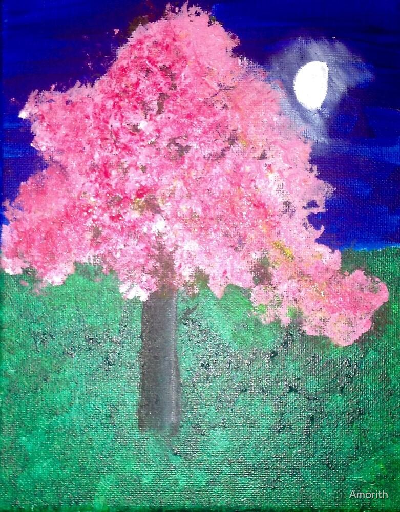 Night Cherry Blossom Tree by Amorith