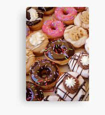Sugar coated colorful doughnuts  Canvas Print
