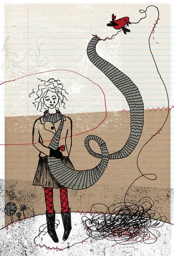 Stitch with bird by marianeart