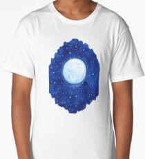 Watercolor shining moon with stars Long T-Shirt