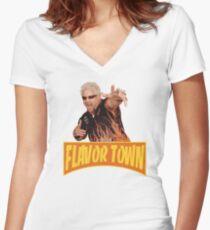 FLAVOR TOWN USA - GUY FlERl Women's Fitted V-Neck T-Shirt