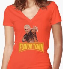 FLAVOR TOWN USA - GUY FlERl Women's Fitted V-Neck T-Shirt