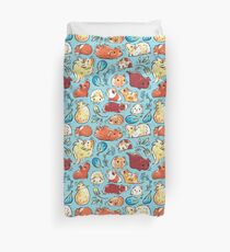 Guinea Pig Huddle In Blue Duvet Cover
