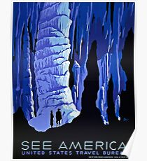 See America blue grotto vintage travel ad Poster