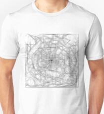 psychedelic drawing and sketching abstract pattern in black and white T-Shirt