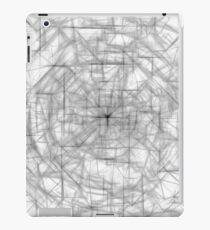 psychedelic drawing and sketching abstract pattern in black and white iPad Case/Skin