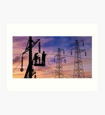 Power Lines Technicians At Work. Art Print