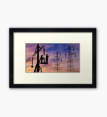 Power Lines Technicians At Work. Framed Print