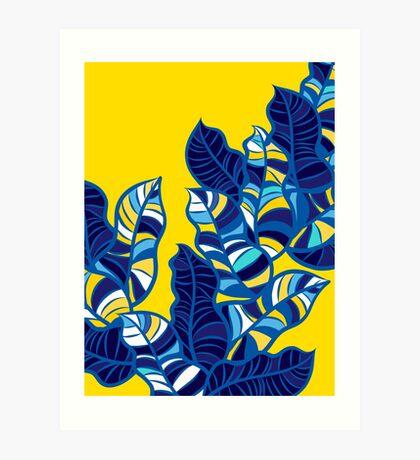 Pop foliage on Yellow Art Print