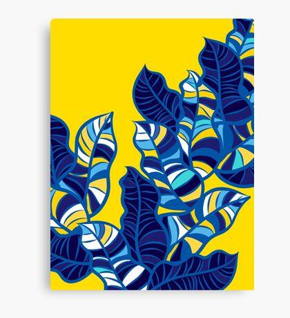 Pop foliage on Yellow Canvas Print