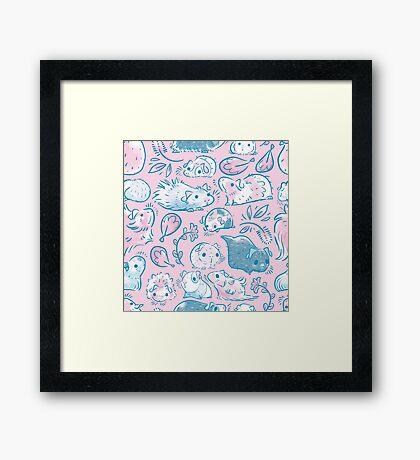 Guinea Pig Huddle In Pink Framed Print