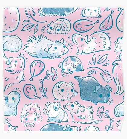 Guinea Pig Huddle In Pink Poster