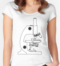 BLACK AND WHITE MICROSCOPE DESIGN Women's Fitted Scoop T-Shirt