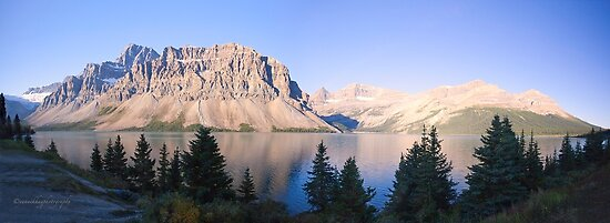 Crow Mountain, Crow Glacier and Bow Lake Panorama by Yannik Hay
