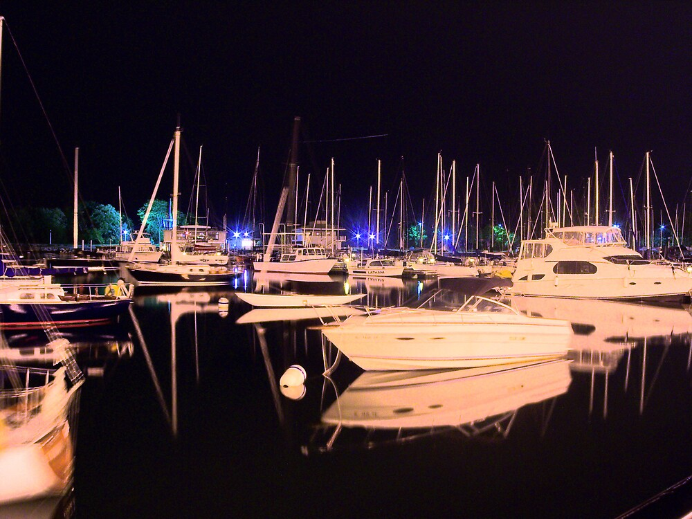 Belmont Harbor Silent Colors of the Night  by Photojack