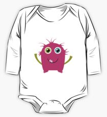 Cute and funny pink monster alien One Piece - Long Sleeve
