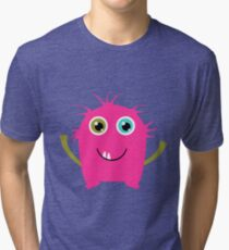 Cute and funny pink monster alien Tri-blend T-Shirt
