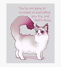 """You're Not Going to Succeed at Everything You Try"" Cat Photographic Print"