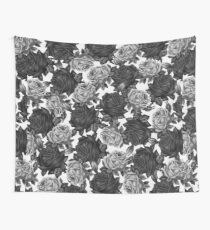 Vintage Black and White Roses Wall Tapestry