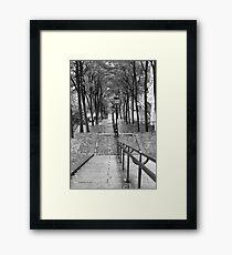 Escalier - Montmartre - Paris Black and White Framed Print