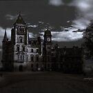 Spooky Night on Dunrobin Castle Black and White (Golspie, Sutherland, Scotland) by Yannik Hay