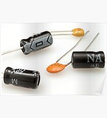 A close up image of capacitors on a white background Poster