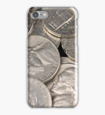 A close up image of American nickels iPhone Case/Skin