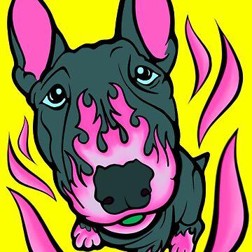 Custom Hot Rod Bull Terrier Hot Pink  by Sookiesooker