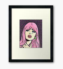 Comic Girl en pleurs de Pop Art rose Impression encadrée