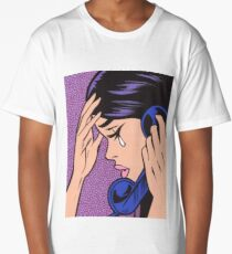 Telephone Crying Comic Girl Long T-Shirt