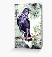 Crow wears a band of Silver - Coco Greeting Card