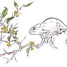 Kei-Apfel und ein Chamäleon - botanische Illustration von Maree Clarkson