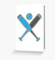 Two baseball bats crosses with baseball in blue Greeting Card