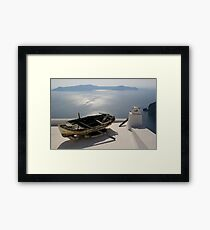 Boat in Santorini Framed Print