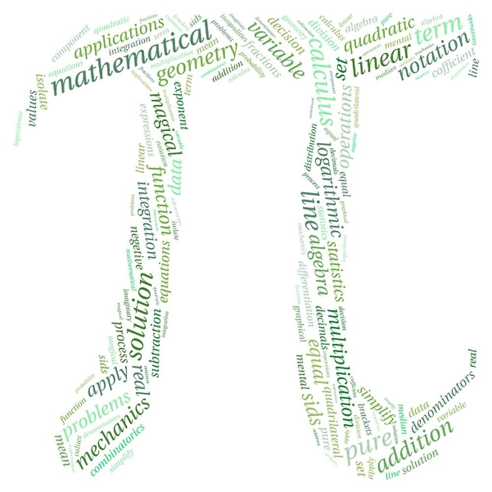 Pi: Maths Word Cloud 2 by HumanCalculator