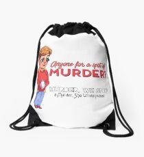 Anyone for a spot of Murder, We Spoke Drawstring Bag